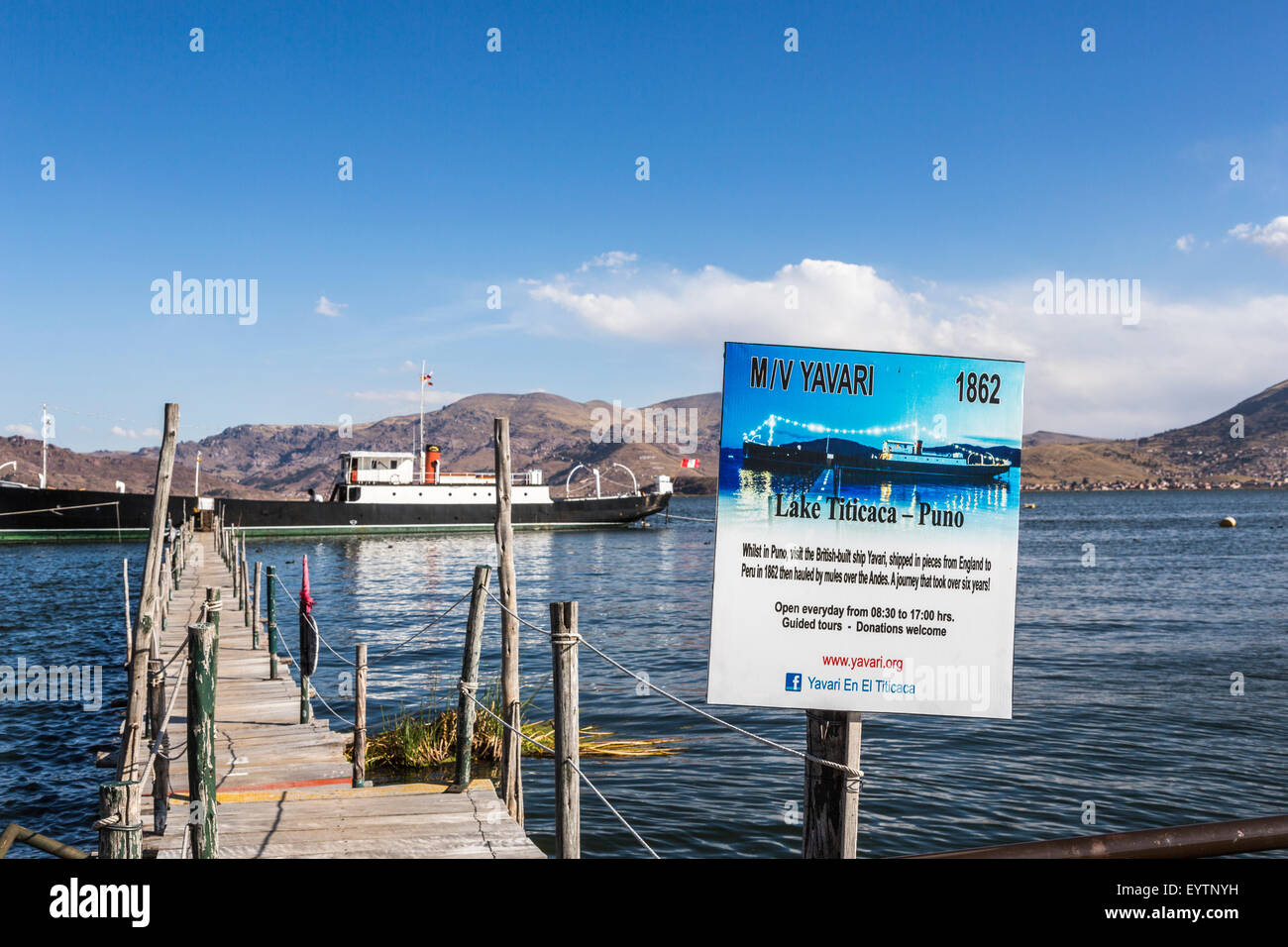 Entrance sign at the M/V Yavari, a former gunboat, built in West Ham, East London in 1862, moored in Puno on Lake - Stock Image