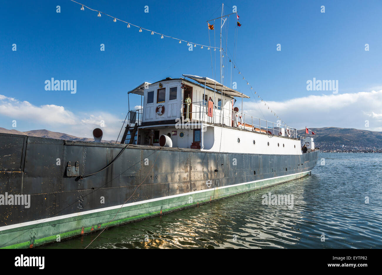 Peruvian heritage: The M/V Yavari, a former gunboat, built in West Ham, East London in 1862, moored in Puno on Lake - Stock Image