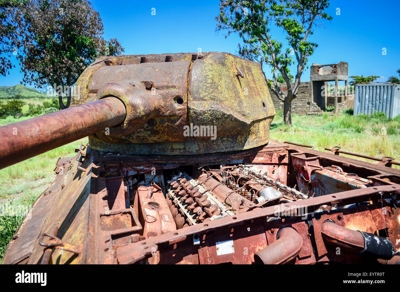 Abandoned rusty tank in Angola, following the civil war - Stock Image