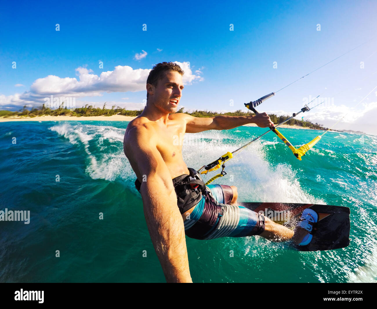 Kiteboarding. Fun in the ocean, Extreme Sport Kitesurfing. POV Angle with Action Camera - Stock Image