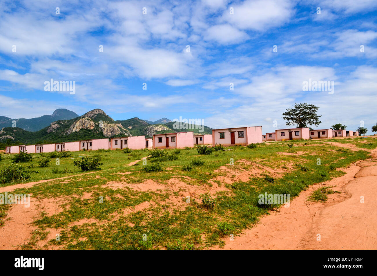 Government housing in Catanda, Namibe province, Angola - Stock Image