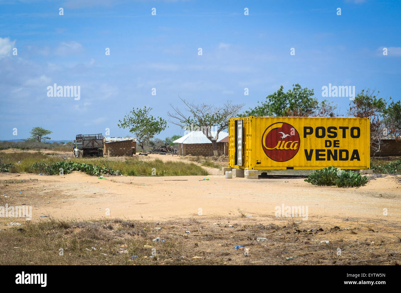 Cuca (beer brand) container used as a retail shop in Angola (small business) - Stock Image