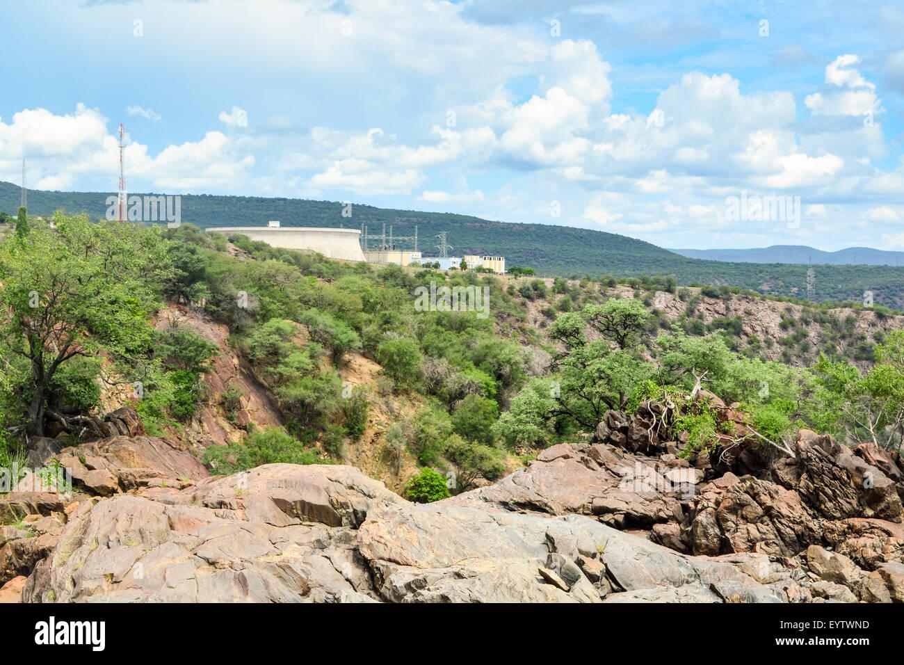 NAMPOWER power station at Ruacana dam, at the border Angola/Namibia - Stock Image