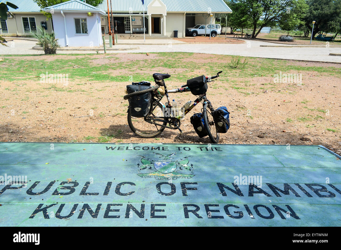 Namibian border post - Sign reading Republic of Namibia - Kunene region, at the border with Angola, and a touring - Stock Image