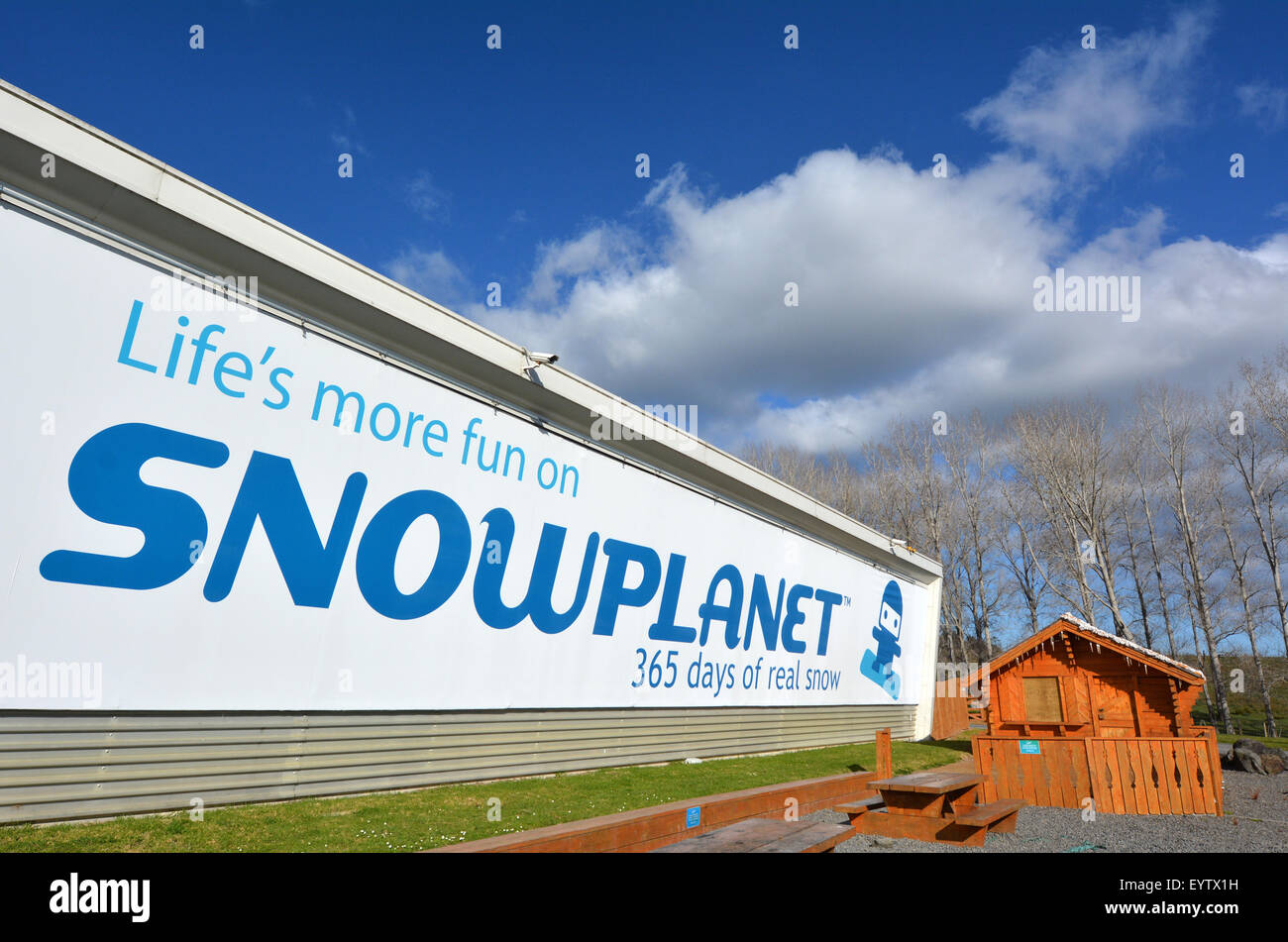 AUCKLAND - JULY 30 2015:Snowplanet faced.It's New Zealand's first indoor snow facility features 50cm of - Stock Image