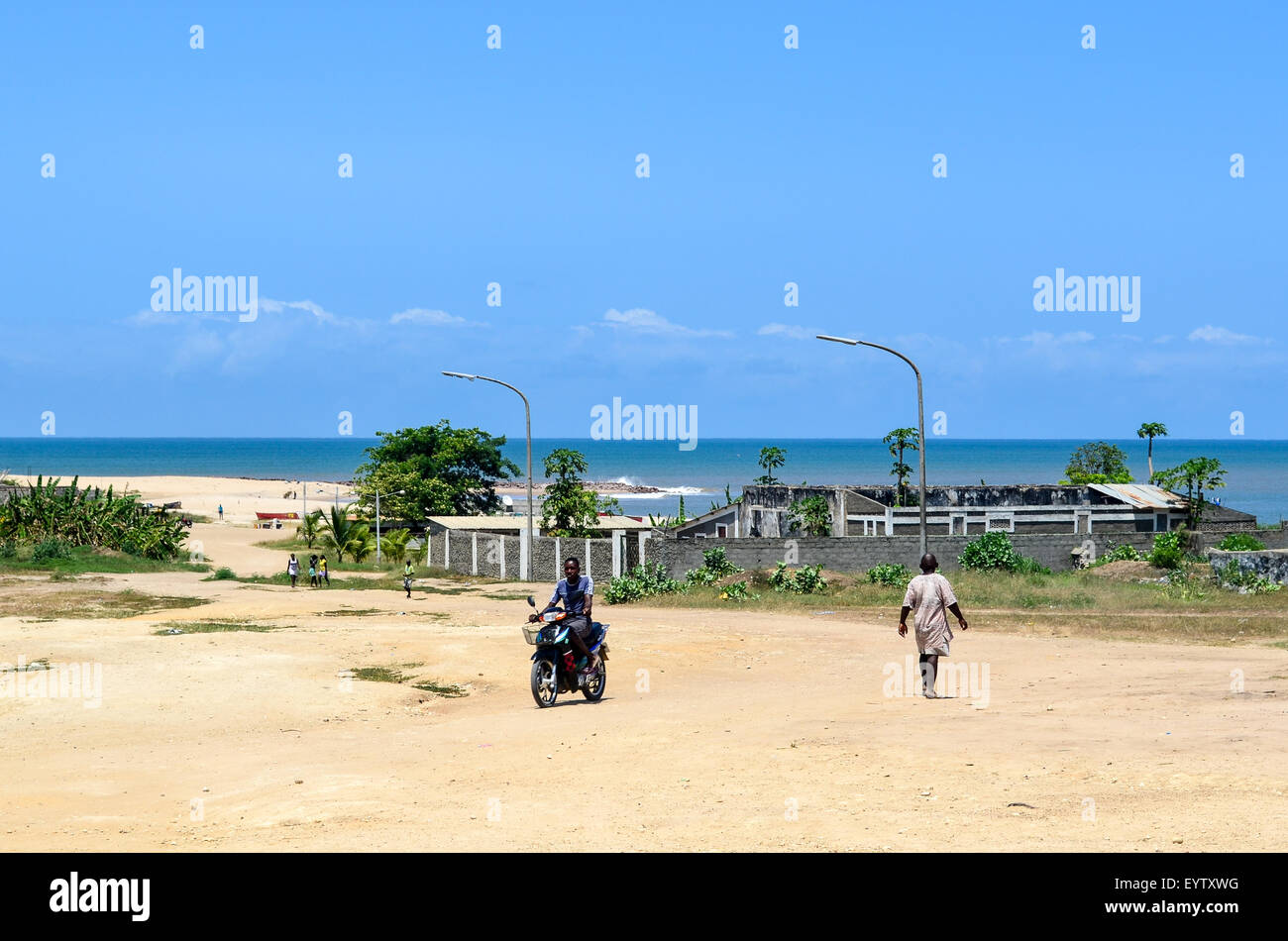 Town of N'zeto in Angola and the Atlantic ocean - Stock Image