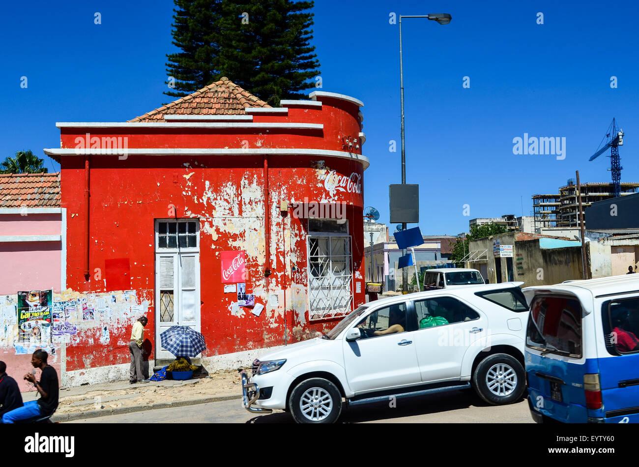 Street view of the city of Lubango, Angola - Stock Image