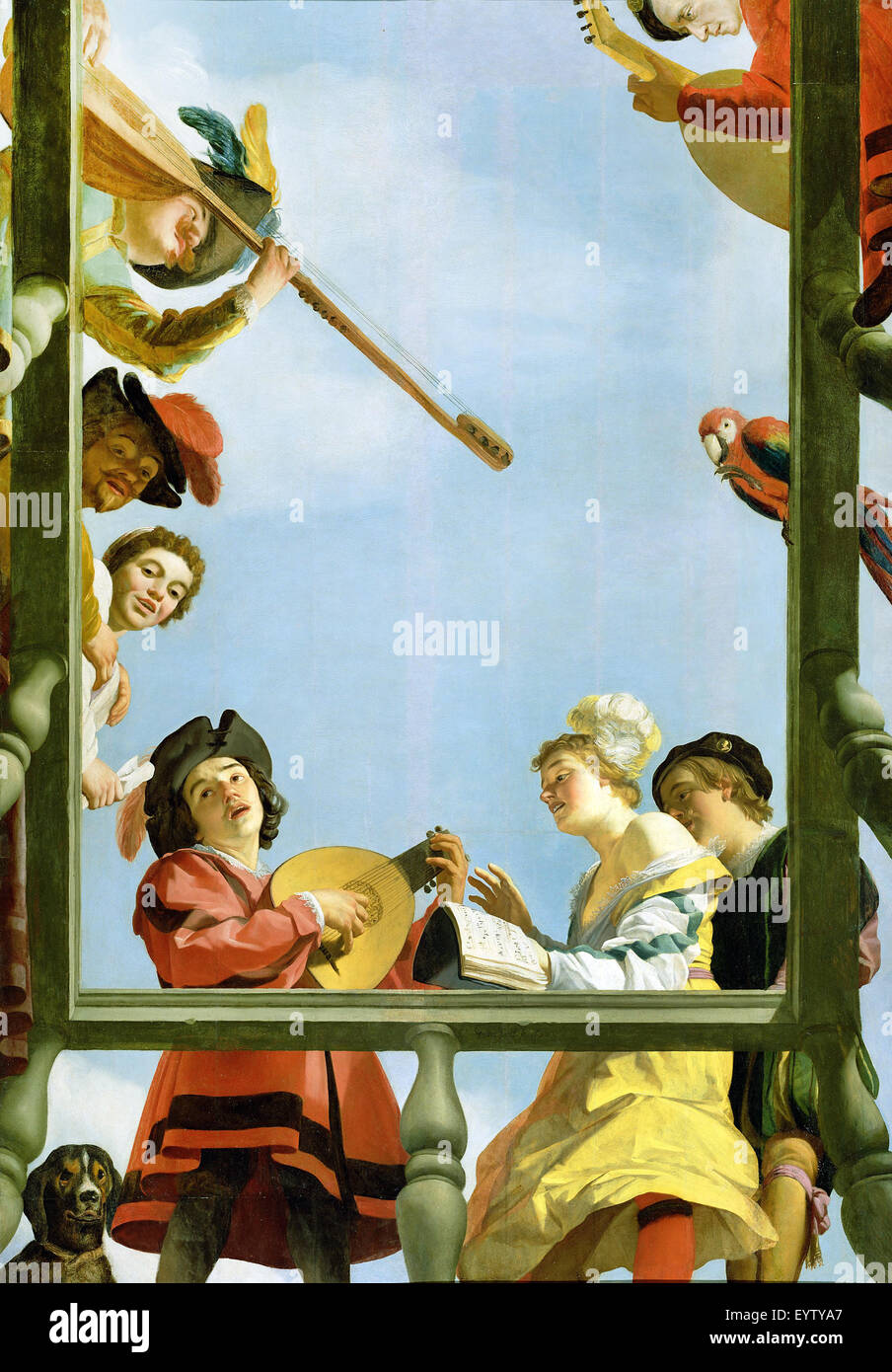 Gerrit van Honthorst, Musical Group on a Balcony 1622 Oil on panel. The J. Paul Getty Museum, Los Angeles, USA. - Stock Image