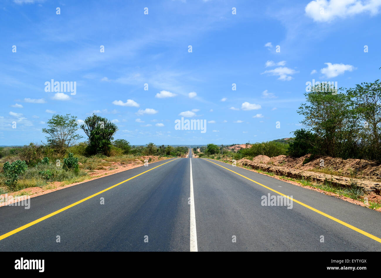 Brand new tar road in Angola - Stock Image