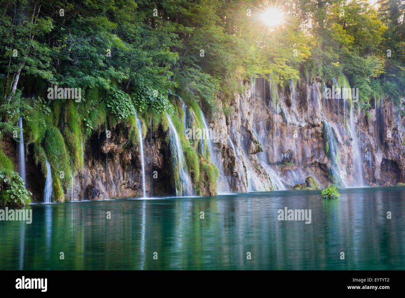 Plitvice Lakes National Park is one of the oldest national parks in Southeast Europe and the largest national park - Stock Image