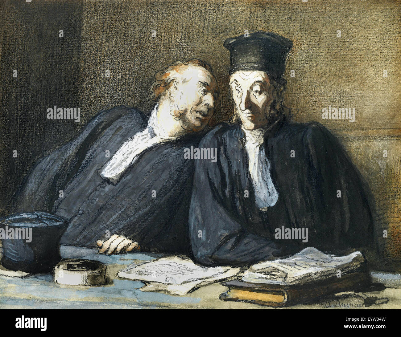 Honore Daumier, Two Lawyers Conversing 1808-1879 Black chalk, gouache, watercolor. The Morgan Library and Museum, - Stock Image