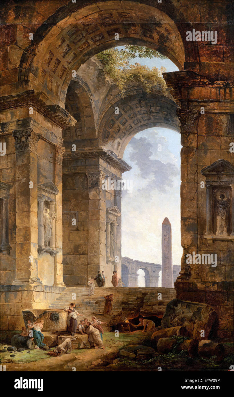 Hubert Robert, Ruins With an Obelisk in the Distance 1775 Oil on canvas. Pushkin Museum, Moscow, Russia. - Stock Image