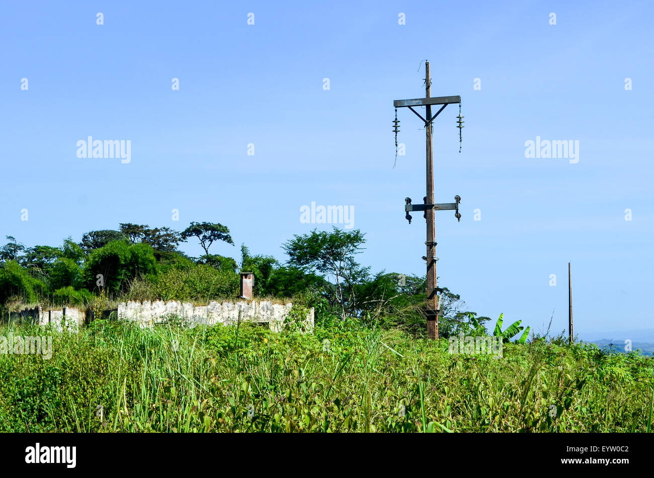 Abandoned electricity pole in Angola - Stock Image