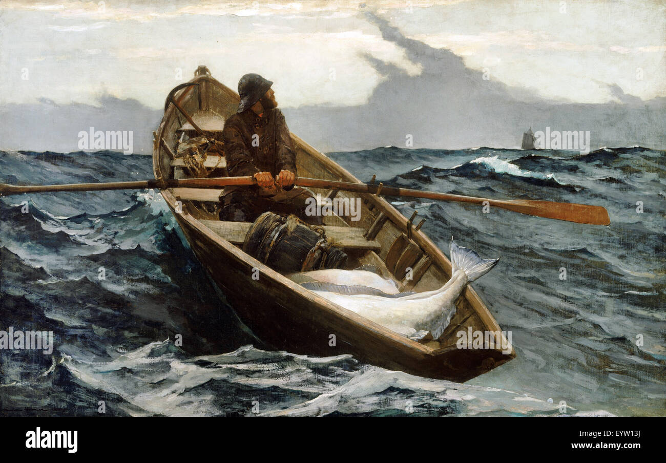 Winslow Homer, The Fog Warning ( Halibut Fishing ) 1885 Oil on canvas. Museum of Fine Arts Boston, USA. - Stock Image