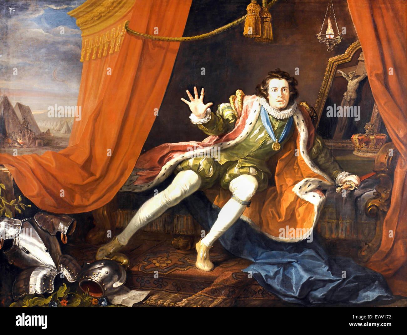 William Hogarth, David Garrick as Richard III. Circa 1745. Oil on canvas. Walker Art Gallery, Liverpool, England. - Stock Image