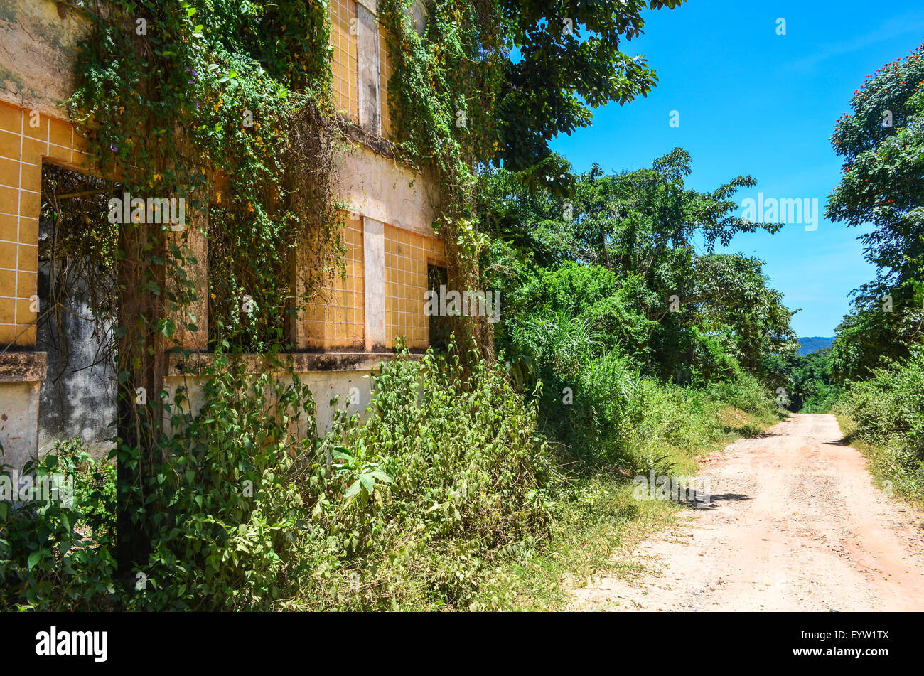 Ruins of a large house, probably a colonial building,  in rural Angola - Stock Image