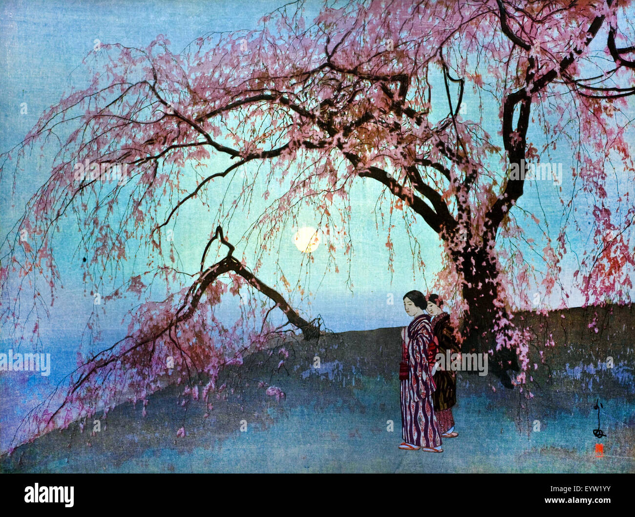 Hiroshi Yoshida, Kumoi-Zakura (Kumoi Cherry Trees) 1920 Color woodblock print. Toledo Museum of Art, Ohio, USA. - Stock Image
