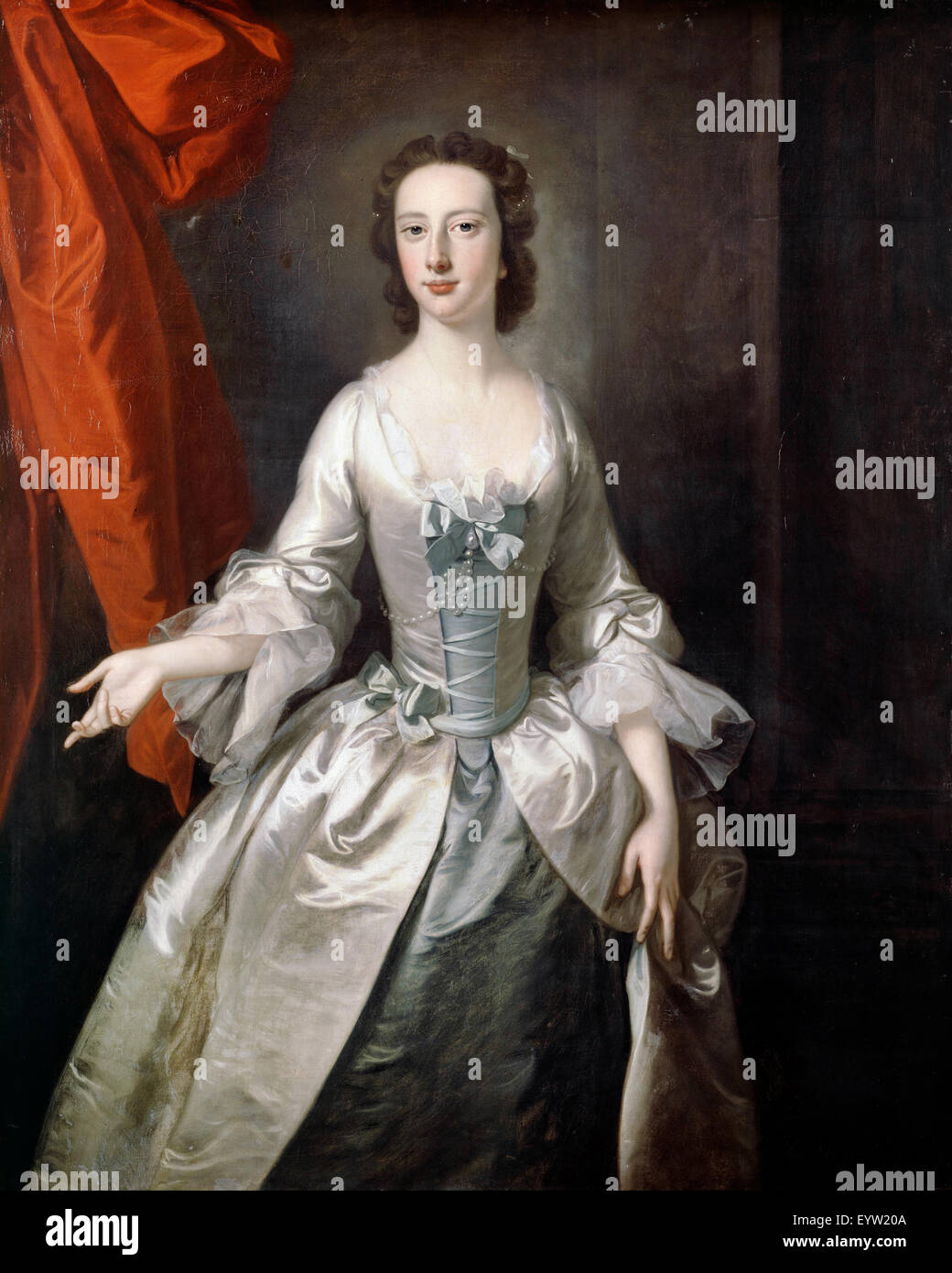Thomas Hudson, Portrait of a Lady 1750 Oil on canvas. Dulwich Picture Gallery, London, England. - Stock Image