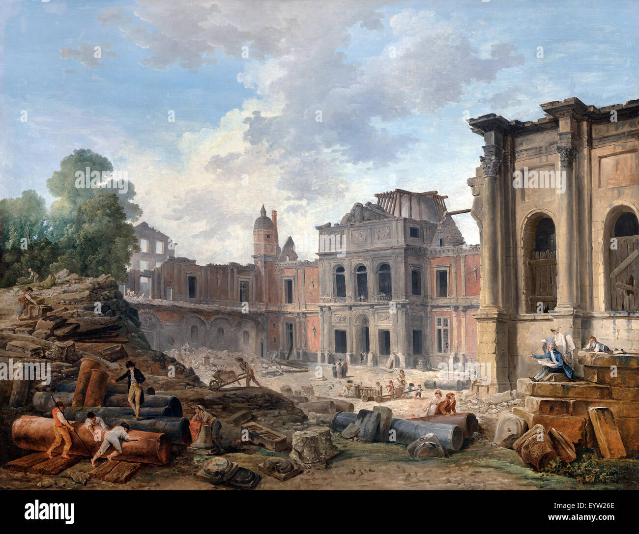 Hubert Robert, Demolition of the Chateau of Meudon 1806 Oil on canvas. The J. Paul Getty Museum, Los Angeles, USA. - Stock Image