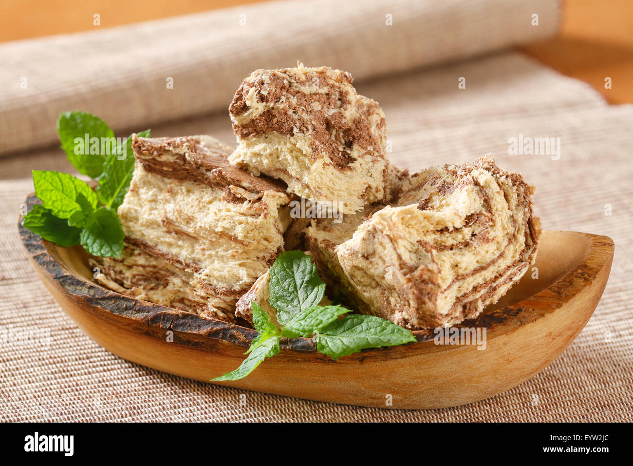 Marble sesame halva with cocoa - Stock Image
