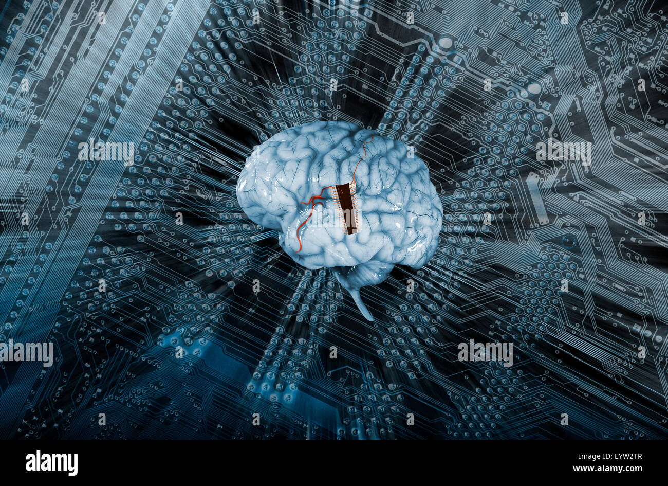 artificial intelligence, brain and computer - Stock Image