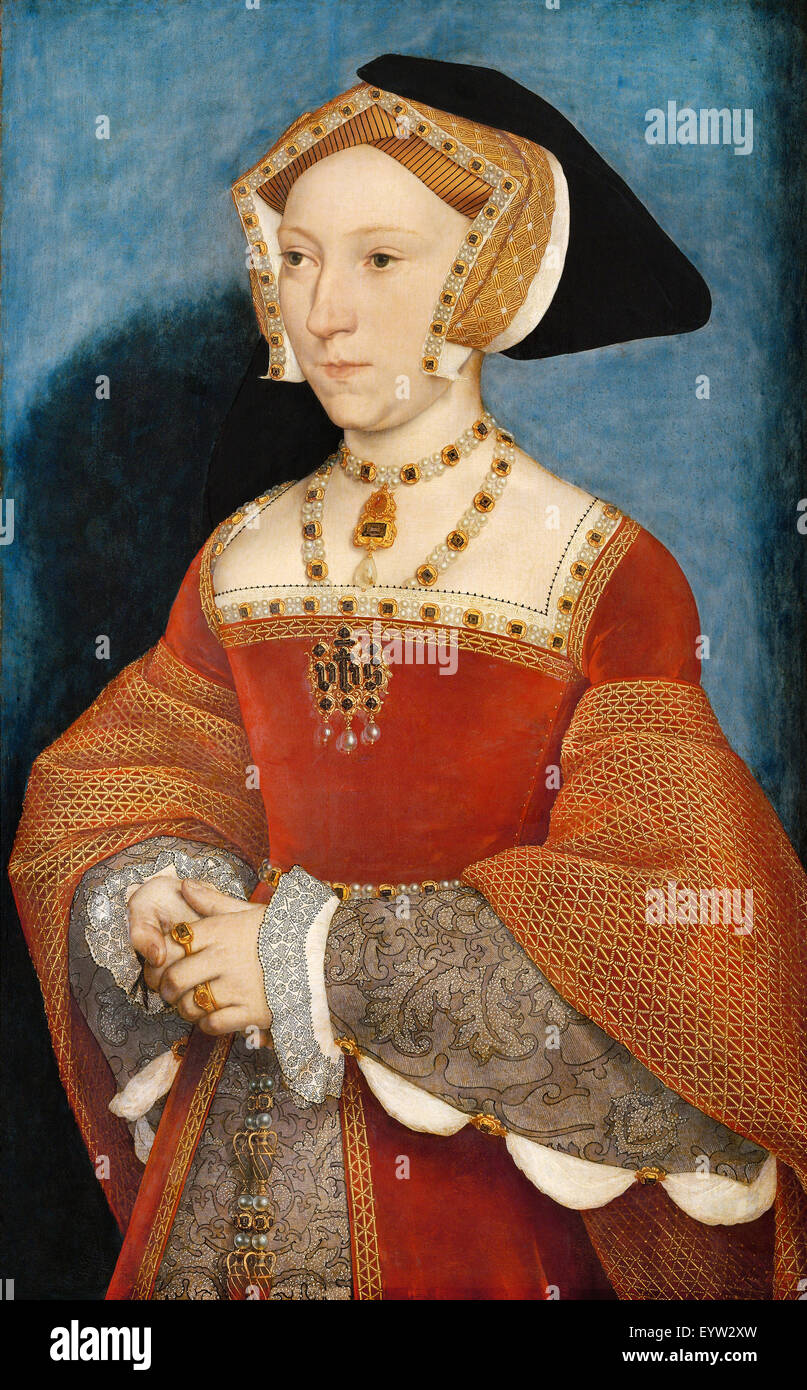 Hans Holbein the Younger, Jane Seymour, Queen of England 1536 Oil on Wood. Kunsthistorisches Museum, Vienna, Austria. - Stock Image