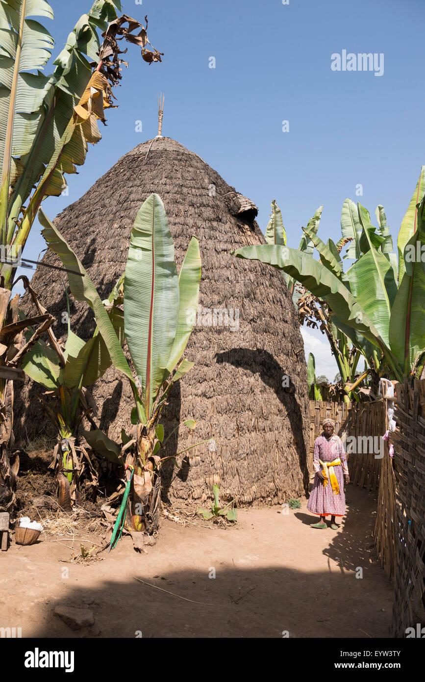 Traditional Dorze hut, Dorze, Ethiopia - Stock Image