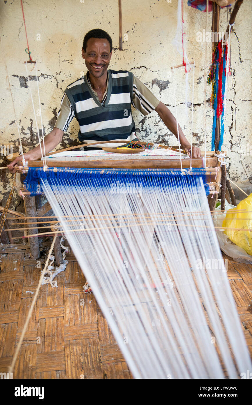 Traditional cotton weaver, Dorze, Ethiopia - Stock Image