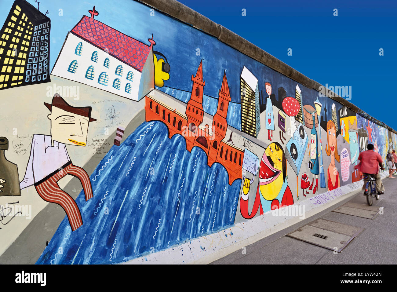Germany, Berlin: Wall paintings at the former Berlin Wall at East Side Gallery - Stock Image