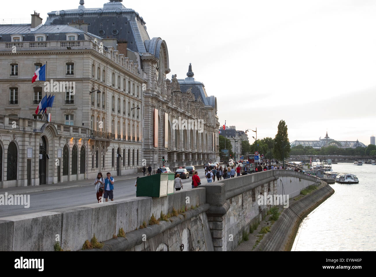 View from the Pont Royal looking towards Musée d'Orsay in Paris, France. - Stock Image