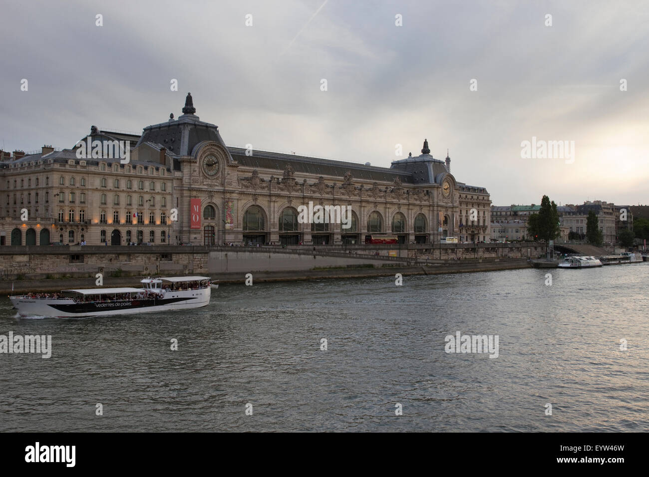 Wide-angle view of Musee D'Orsay in Paris, France. - Stock Image