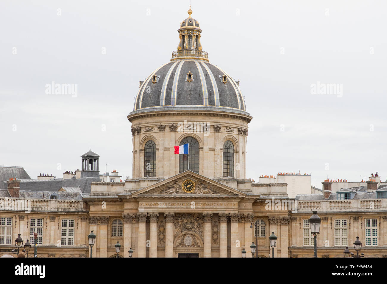 Cupola of the Institut de France as seen from the Pont des Arts in Paris, France. - Stock Image