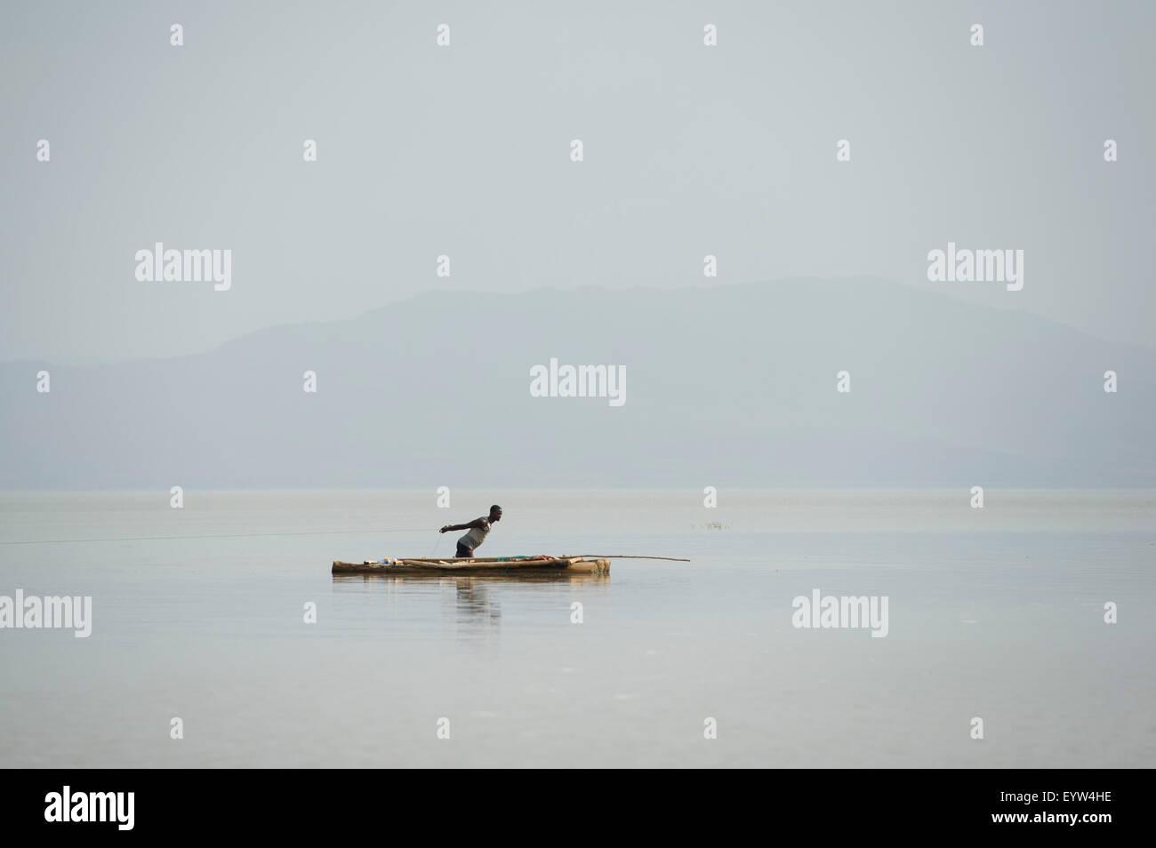 Fisherman on Lake Chamo, Nechisar National Park, Ethiopia Stock Photo