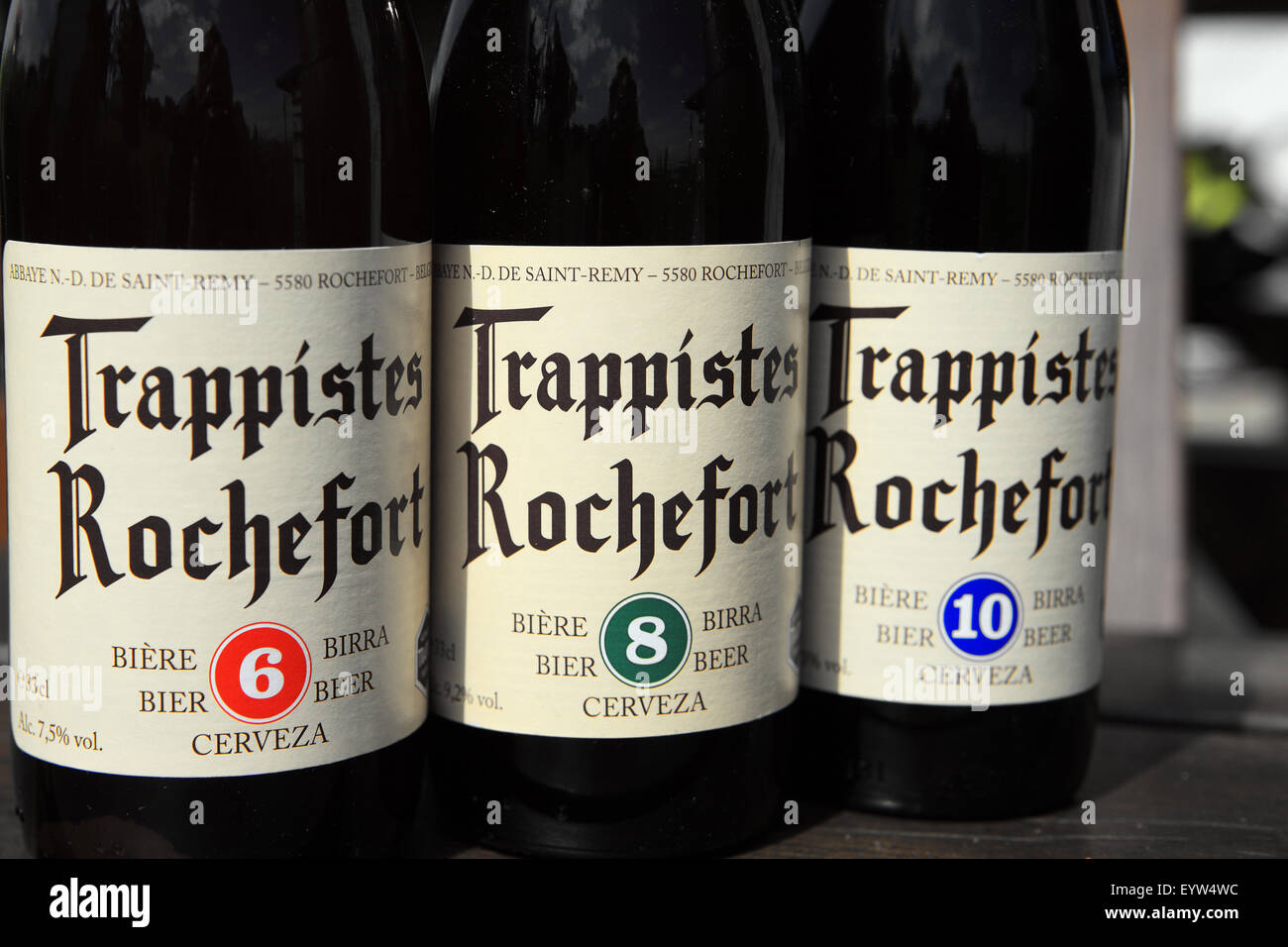 Belgian beer Trappistes Rochefort bottles of varying strengths 6, 8 & 10 - Stock Image