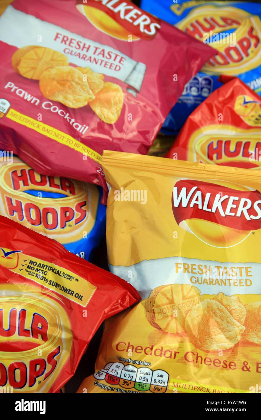 Packets of crisp snacks - Stock Image