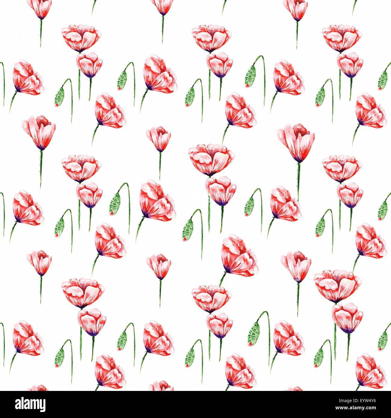 Seamless watercolor texture with red flowers isolated on