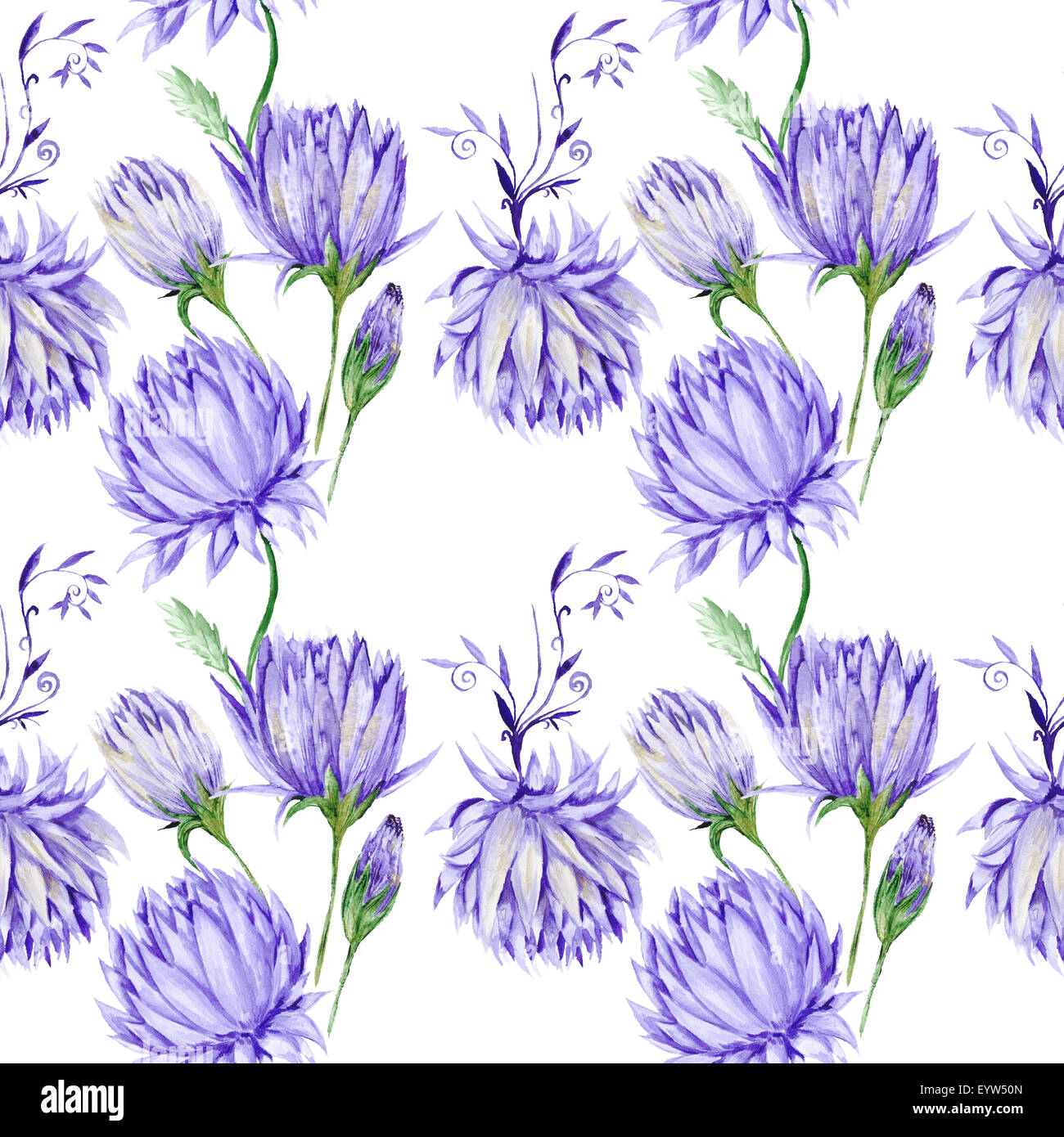Art Creative Watercolor Wallpaper With Hand Painted Purple Flowers