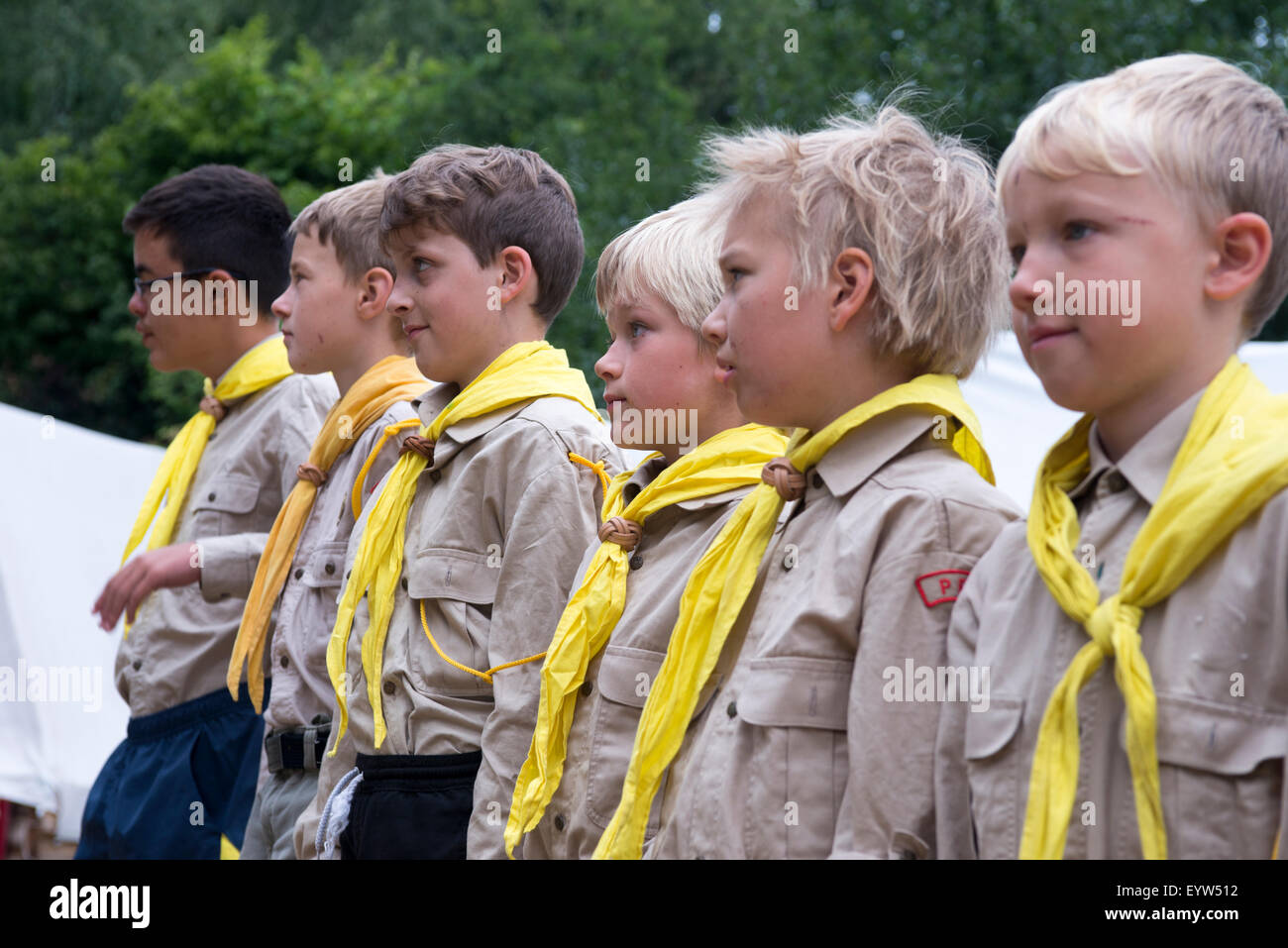 Boys Scout Campground, summer camp, tents, Roughing camping, adventure, children, Scout Movement, Scouting - Stock Image