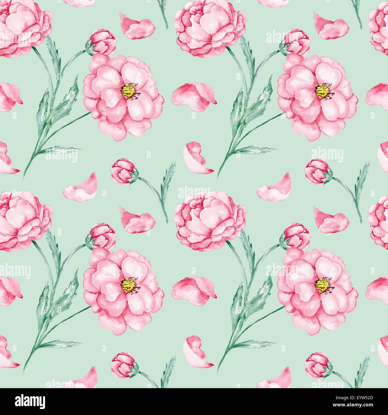 Vintage Light Green Floral Background For Textile And Wallpaper