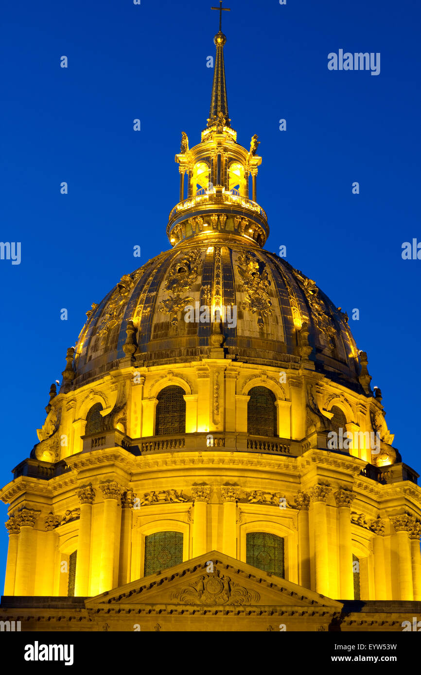 Dome of Les Invalides in Paris, France, at Blue Hour. - Stock Image