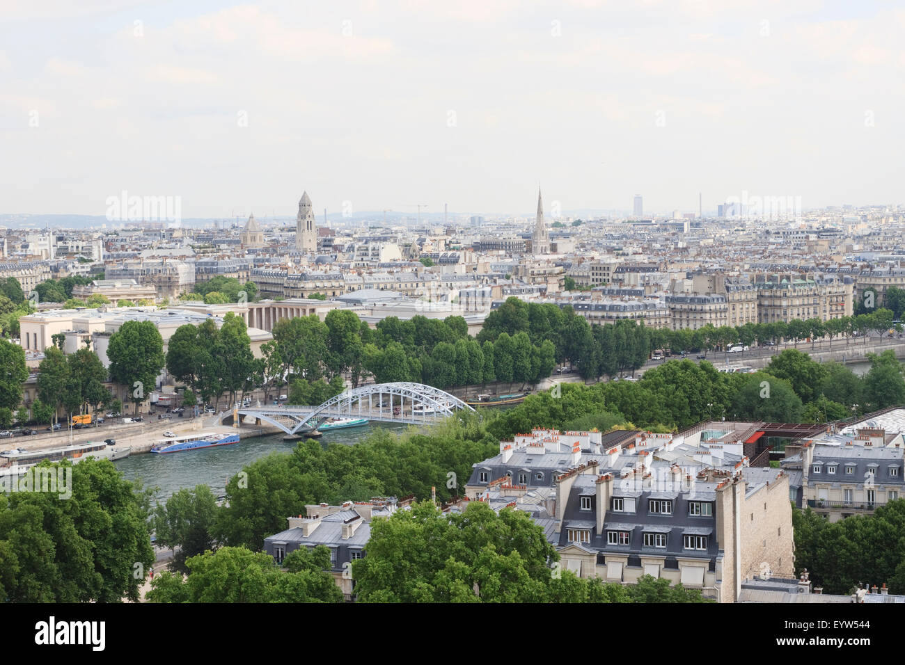 View from the 1st floor observation deck of the Eiffel Tower looking towards the 7th and 16th arrondissements of - Stock Image