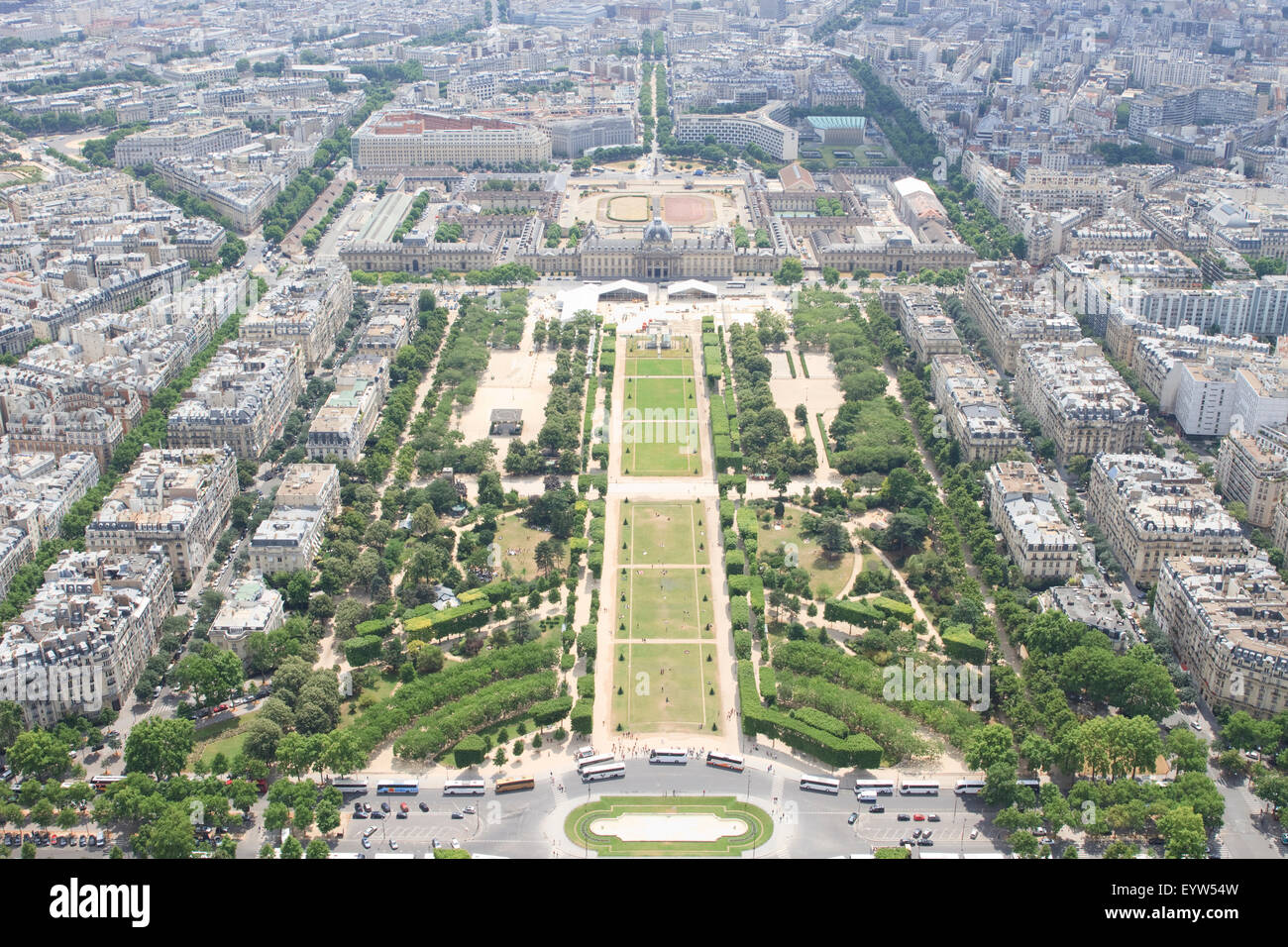View South East from the top of the Eiffel Tower, down the Champ de Mars with  École Militaire in the background. - Stock Image
