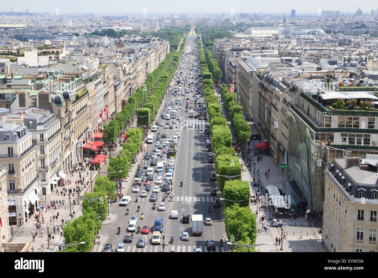 Avenue des Champs-Élysées as seen rom the observation deck of the Arc de Triomphe de l'Étoile - Stock Image