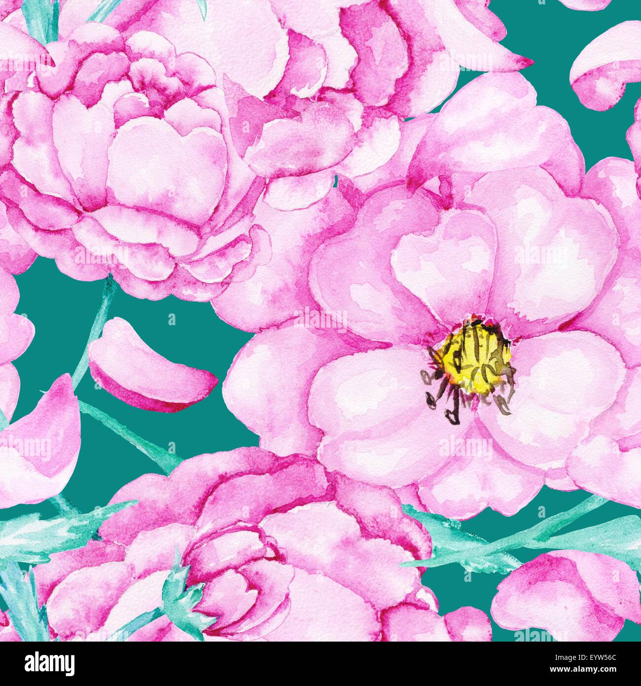 Turquoise background with pink flowers for wallpaper and textile turquoise background with pink flowers for wallpaper and textile design mightylinksfo