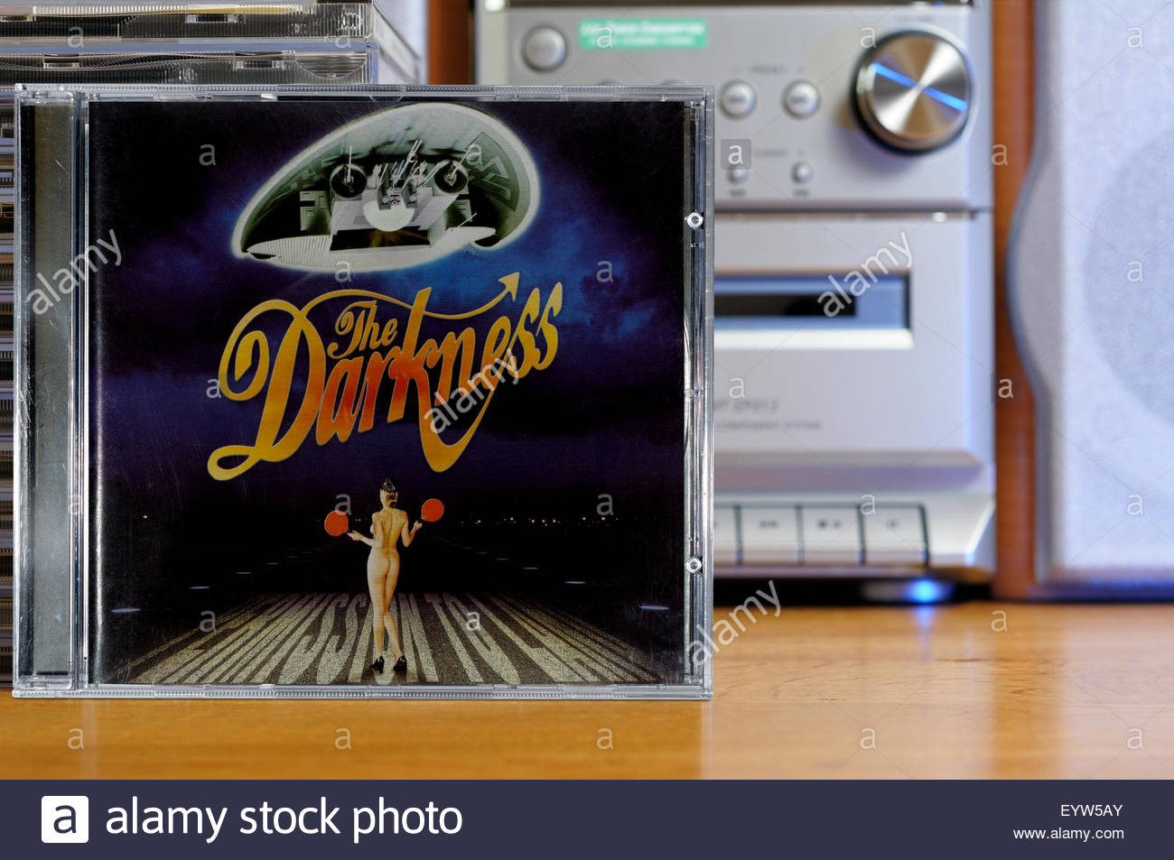 The Darkness 2003 debut album Permission to Land, album, piled music CD cases, England - Stock Image