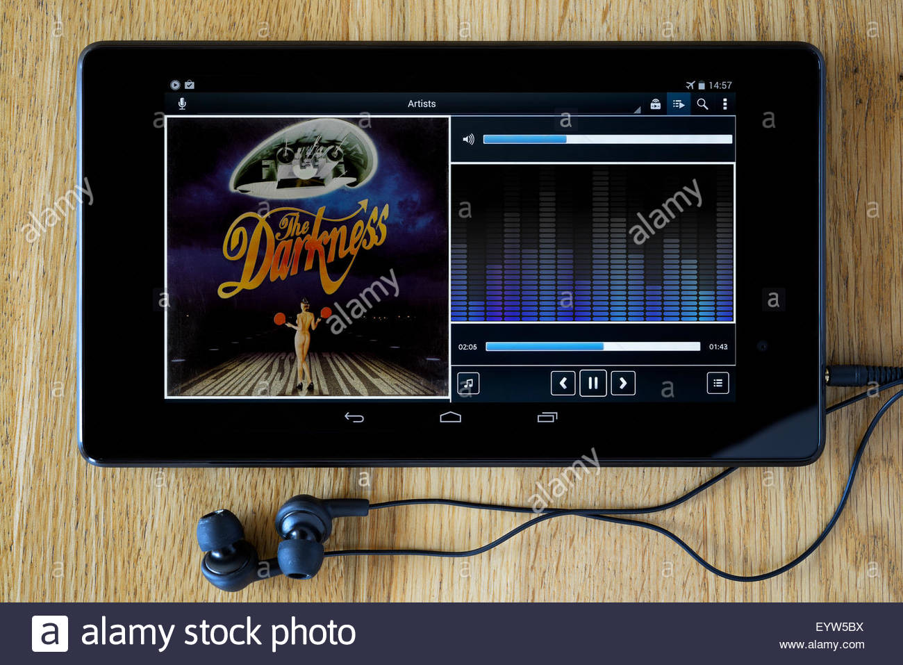 The Darkness 2003 debut album Permission to Land, MP3 album art on PC tablet, England - Stock Image