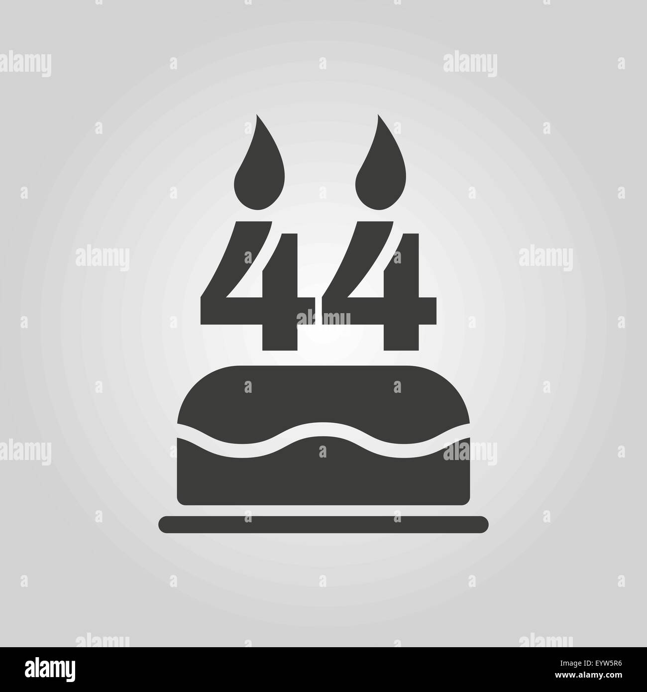 The birthday cake with candles in the form of number 44 icon Stock