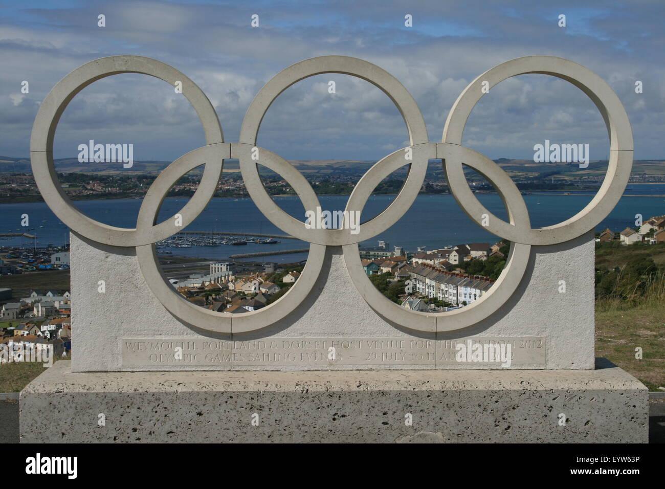 Olympic Rings overlooking Portland - Stock Image