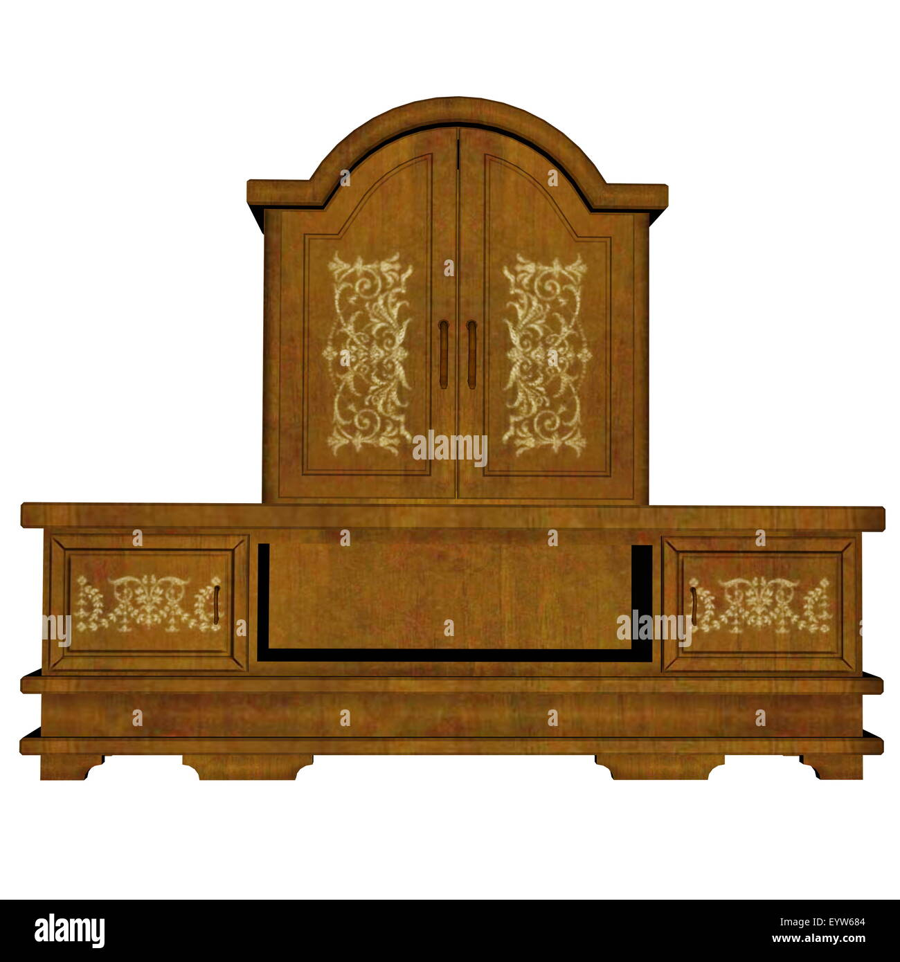 Cabinet furniture isolated in white background - 3D render - Stock Image