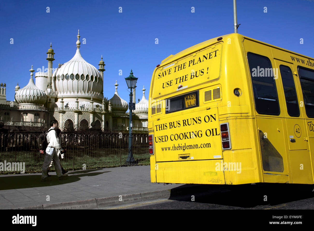 A bus that runs on biodiesel fuel made from recycled waste cooking oil, Brighton. - Stock Image